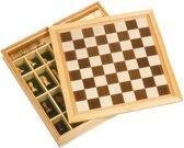 SCHAAKBORD, DAMSPEL en MOLENSPEL in houten doos 34x34cm, 6+