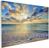 Zonsopkomst boven de zee  Glas 90x60 cm - Foto print op Glas (Plexiglas wanddecoratie)
