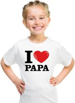 Wit I love Papa t-shirt kinderen XS (110-116)
