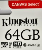 Kingston Micro SD kaart Canvas 64 GB + SD Adapter (HD video- 80MB/S/R)