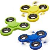 relaxdays 3 x Fidget Spinner - tri-spinner 58 g - hand spinner antistress geel blauw groen