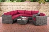 Clp Wicker Poly rotan lounge set TIBERA, met opbergruimte (2 x 2-zitsbank + fauteuil + hoekbank + tafel 110 x 60 cm + 9 cm dikke bekleding) 5 mm dikke poly rotan - kleur rotan : grijs gemeleerd Bekleding: robijn rood