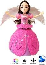 DANCING ANGEL GIRL - Dansende prinsesje met Led lichtjes & muziek - roze (incl. batterijen)