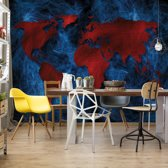 Fotobehang Modern World Map Red And Blue | VEL - 152.5cm x 104cm | 130gr/m2 Vlies