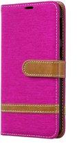 Samsung Galaxy A40 Hoesje - Denim Book Case - Roze