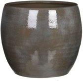 Mica Decorations - lester ronde pot donkergrijs - maat in cm: 26 x 28