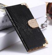 Samsung S6 wallet case met strass steentjes - crocodile