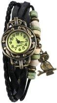 Fako® - Armband Horloge - Uiltje - Zwart