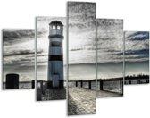 Glas schilderij Vuurtoren | Grijs, Blauw | 100x70cm 5Luik | Foto print op Glas |  F007467