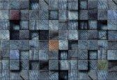 Fotobehang Wood Blocks Texture Dark Grey | L - 152.5cm x 104cm | 130g/m2 Vlies