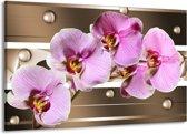 Canvas schilderij Orchidee | Bruin, Paars, Roze | 140x90cm 1Luik