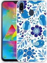 Galaxy M20 Hoesje Blue Bird and Flowers