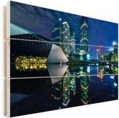 Blauwe verlichting in Guangzhou Vurenhout met planken 30x20 cm - klein - Foto print op Hout (Wanddecoratie)