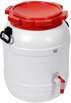 Vat Met Kraan - 54 Liter - Water- En Luchtdicht - Wit/rood