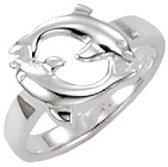 Classics&More - Zilveren Ring - Maat 40 - 2 Dolfijnen