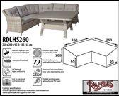 RDLHS260 Hoes voor hoekbank - hoge rug 260 x 260 x 95 H: 100 / 65 cm taupe