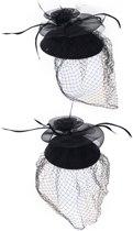 Mini hoedje zwart decoratief met haarclip