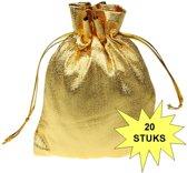 Fako Bijoux® - Organza Zakjes - 7x9cm - Metal Goud - 20 Stuks