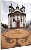 Kerk Brazilie  Hout 40x60 cm - Foto print op Hout (Wanddecoratie)