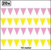 20x Vlaggenlijn geel en roze 10 meter