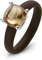 Colori 4 RNG00074 Siliconen Ring met Steen - Glassteen 10 mm - One-Size - Bruin