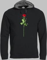 Hoodie M Valentijnsdag met een rode roos van liefde op je shirt - Zwart - M - XXXL Sporttrui