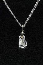 Zilveren Bokshandschoen ketting hanger - middel