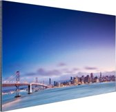 De skyline vanaf de Golden Gate Bridge Aluminium 120x80 cm - Foto print op Aluminium (metaal wanddecoratie)