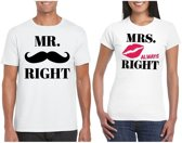 Mr. Right  & Mrs. Always Right koppel t-shirts wit maat M