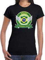 Zwart Brazil drinking team t-shirt zwart dames - Brazilie kleding S