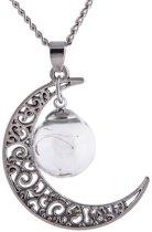 Fashionidea - Mooie zilverkleurig maan ketting met glazen hanger de Necklace Glass Moon