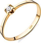 Majestine Soltair Ring 14 Karaat Geelgoud (585) met Diamant 0.065ct maat 54