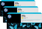 HP 771 - Tonercartridge / Geel / 3 Pack