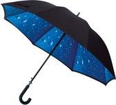 Impliva Dubbeldoeks Paraplu met regendruppels print binnenzijde - Zwart
