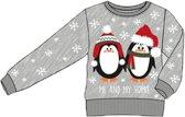 Foute Kersttrui Kinderen Pinguin Grijs - Maat 128/134