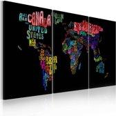 Canvas Schilderij - Tekst kaart van de Wereld, Multi-gekleurd, 2 Maten, 3luik