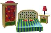 CharlsToys houten poppenhuis meubeltjes slaapkamer