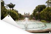 Fontein voor het Monte Carlo Casino in Monaco Tuinposter 120x80 cm - Tuindoek / Buitencanvas / Schilderijen voor buiten (tuin decoratie)