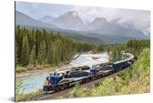 Trein in een kleurrijke omgeving Aluminium 30x20 cm - klein - Foto print op Aluminium (metaal wanddecoratie)