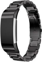 Metalen RVS Band Voor de Fitbit Charge 2 - RVS Horloge Watch Band Strap - Armband - Zwart Large
