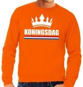 Oranje Koningsdag met een kroon sweater heren XL
