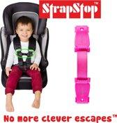 StrapStop - veiligheidsgordel riem - Voorkom dat Kids armen uit veiligheidsharnas kunnen halen van autostoel, buggy of kinderstoel (Roze)