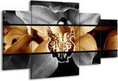 Canvas schilderij Orchidee | Sepia, Bruin | 160x90cm 4Luik