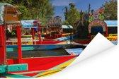 Kleurrijke boten bij elkaar in de rivier in Xochimilco in Mexico Poster 120x80 cm - Foto print op Poster (wanddecoratie woonkamer / slaapkamer)