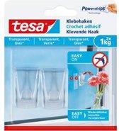 Tesa klevende haak voor glas en transparant 2x1kg