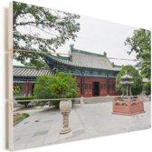 Tempel in Zhengzhou Vurenhout met planken 160x120 cm - Foto print op Hout (Wanddecoratie) XXL / Groot formaat!