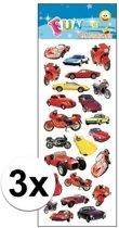 3x Stickervel voertuigen - kinder stickers