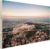 Uitzicht op de Akropolis Hout 160x120 cm - Foto print op Hout (Wanddecoratie) XXL / Groot formaat!