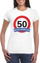 Verkeersbord 50 jaar t-shirt wit dames XL