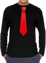 Stropdas rood long sleeve t-shirt zwart voor heren- zwart shirt met lange mouwen en stropdas bedrukking voor heren XL